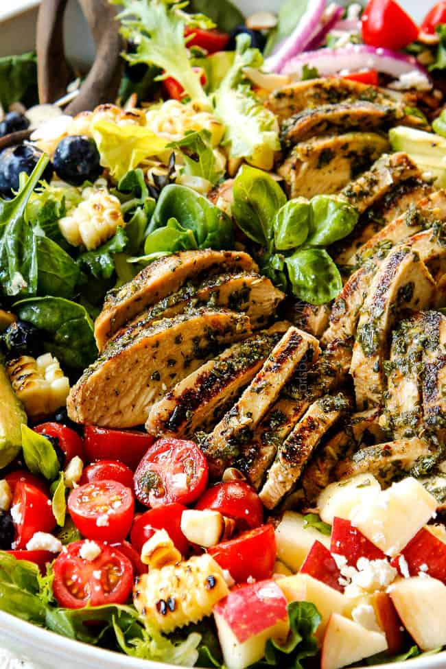 up close side view of grilled chicken salad recipe showing how juicy the grilled chicken is