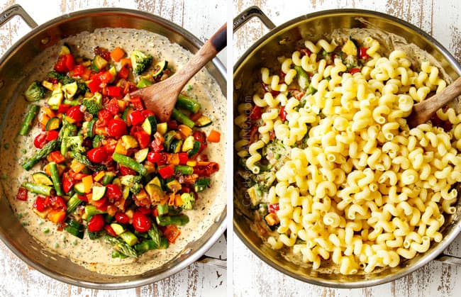 a collage  showing how to make pasta primavera recipe by adding sauteed vegetables and pasta back to cream sauce
