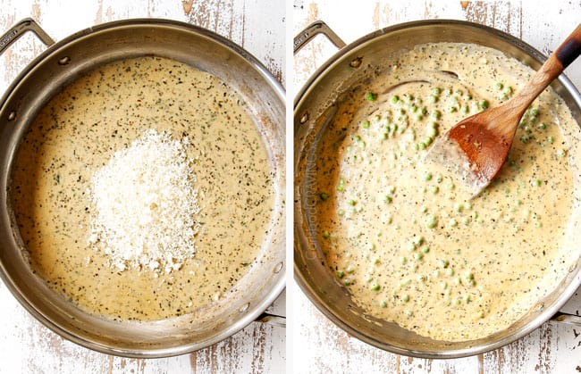 a collage showing how to make pasta primavera recipe by whisking Parmesan into cream sauce followed by peas