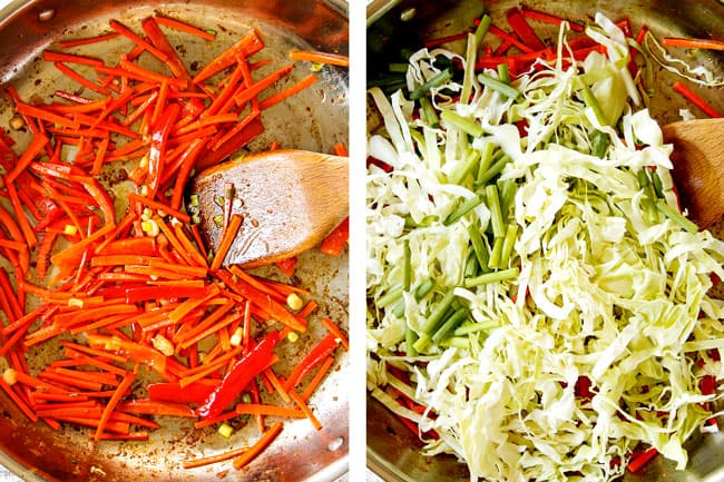 showing how to make yakisoba recipe with a collage cooking carrots and bell peppers and then adding cabbage and green onions in a stainless steel skillet