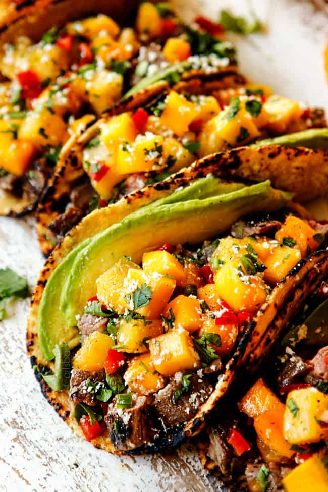 up close of flank steak taco recipe with chopped flank steak and pineapple salsa