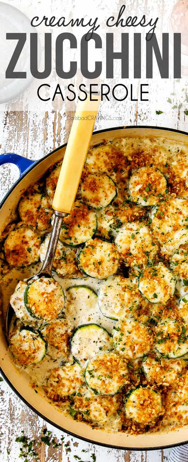 top view zucchini casserole made with heavy cream, cheese, sour cream and panko bread crumbs