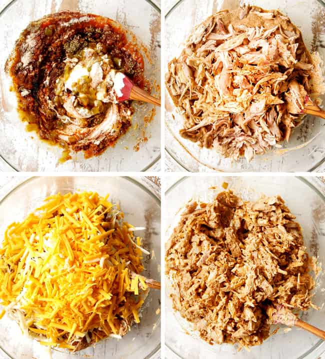 a collage showing how to make flautas by adding salsa, sour cream, seasonings, chicken and cheese to a glass bowl