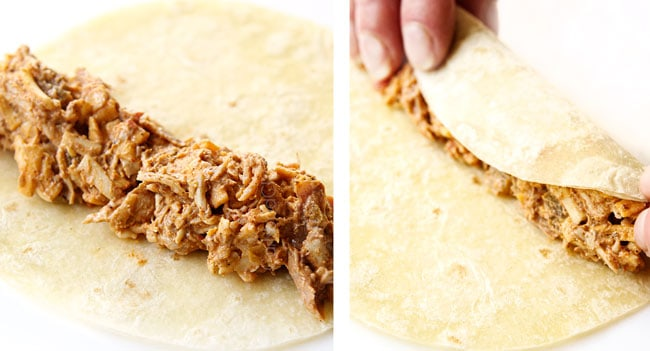 a collage showing how to make flautas by adding chicken filling to a flour tortilla and staring to roll