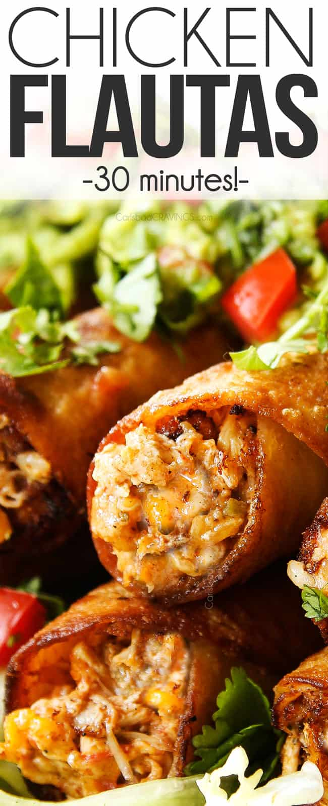 up close of chicken flautas showing how cheesy and creamy they are