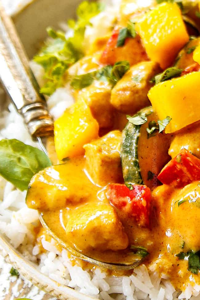 up close of mango chicken recipe with white rice