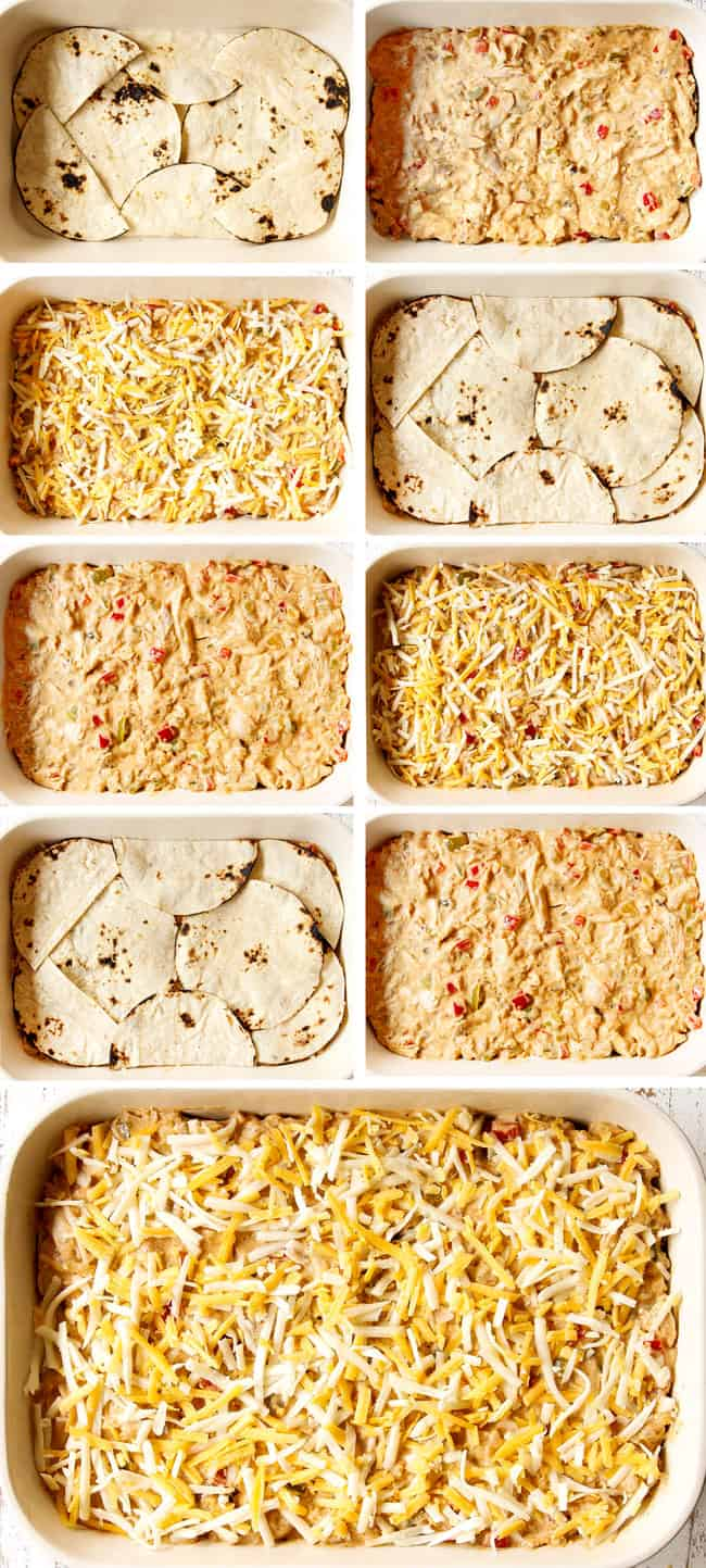 A collage showing how to layer King Ranch Casserole: tortillas, cream chicken layer, cheese layer then repeating two more times and finishing with cheese