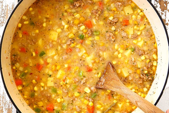 top view showing how to make corn chowder by simmering corn chowder until potatoes are tender