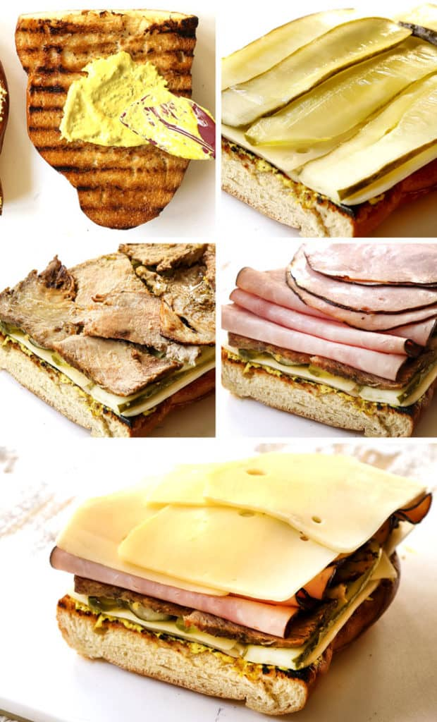 a collage showing how to make Cuban sandwich recipe (Cubanos) by smearing cut side of bread with mustard then layering with Swiss cheese, pickles, mojo Cuban pork, smoked ham and Swiss cheese