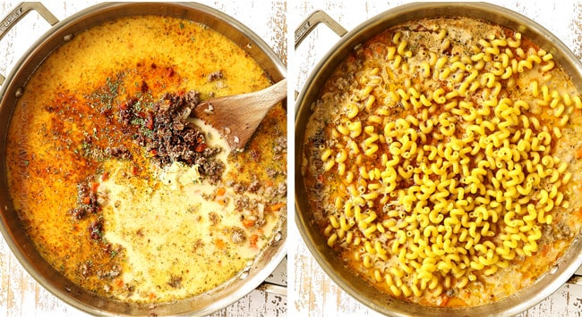 a collage showing how to make homemade hamburger helper by adding the evaporated milk and beef broth  to the skillet then adding the pasta
