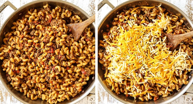 a collage showing how to make homemade hamburger helper recipe by cooking the hamburger helper until the liquid evaporates and then stirring in cheese