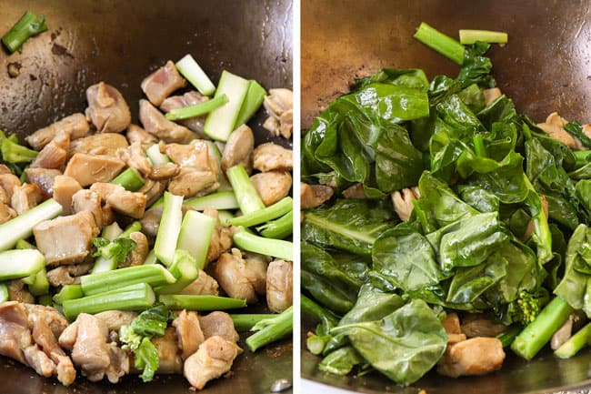 a collage showing how to make pad see ew recipe by stir frying the chicken and Chinese broccoli stalks together and then adding the broccoli leaves