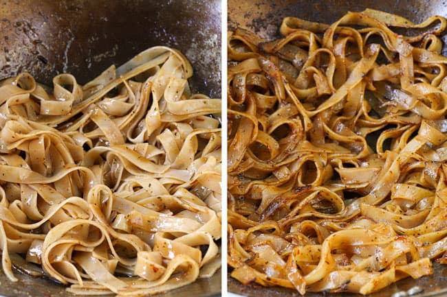 a collage showing how to make pad see ew recipe by adding the noodles to a wok with the sauce and then stir frying until caramelized