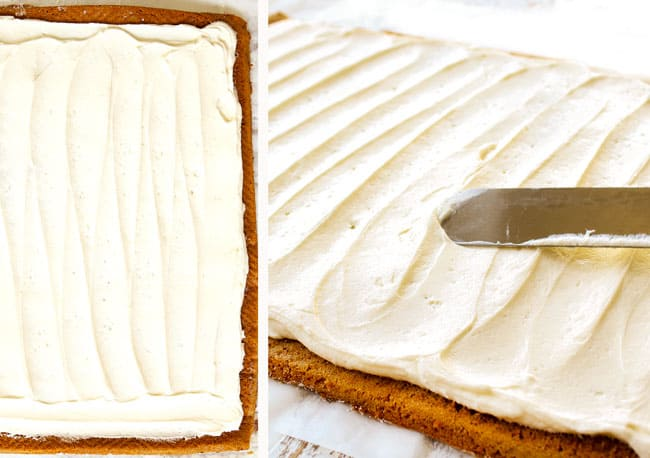 a collage showing how to make a pumpkin roll by frosting with cream cheese frosting