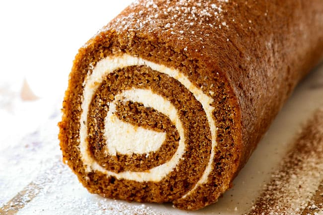 showing how to make a pumpkin roll by chilling in the refrigerator