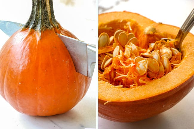 a collage showing how to make pumpkin soup by cutting a pumpkin in half then scooping out the seeds