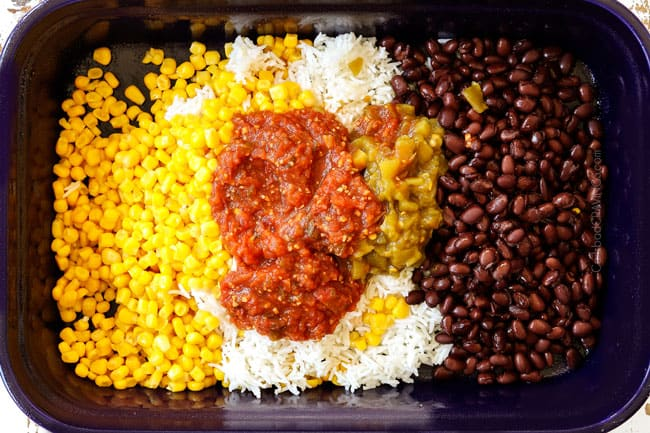 showing how to make baked salsa chicken recipe by adding corn, beans, rice, salsa and green chilies to a blue 9x13 baking dish