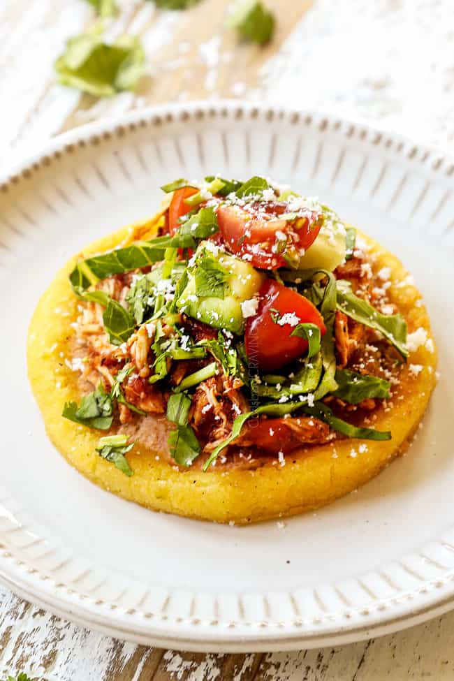 up close of sopes recipe on a white plate