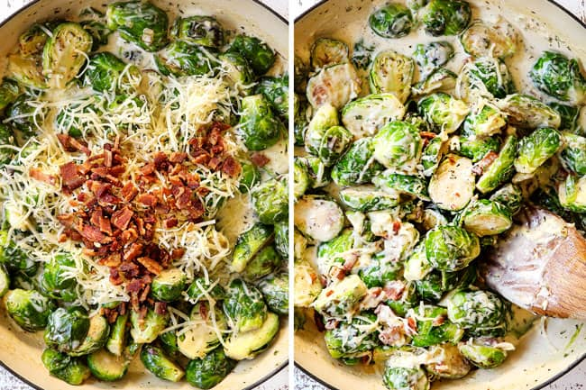a collage showing how to make creamy Brussel sprouts with bacon by adding Gruyere cheese and bacon to Brussels sprouts then stirring in
