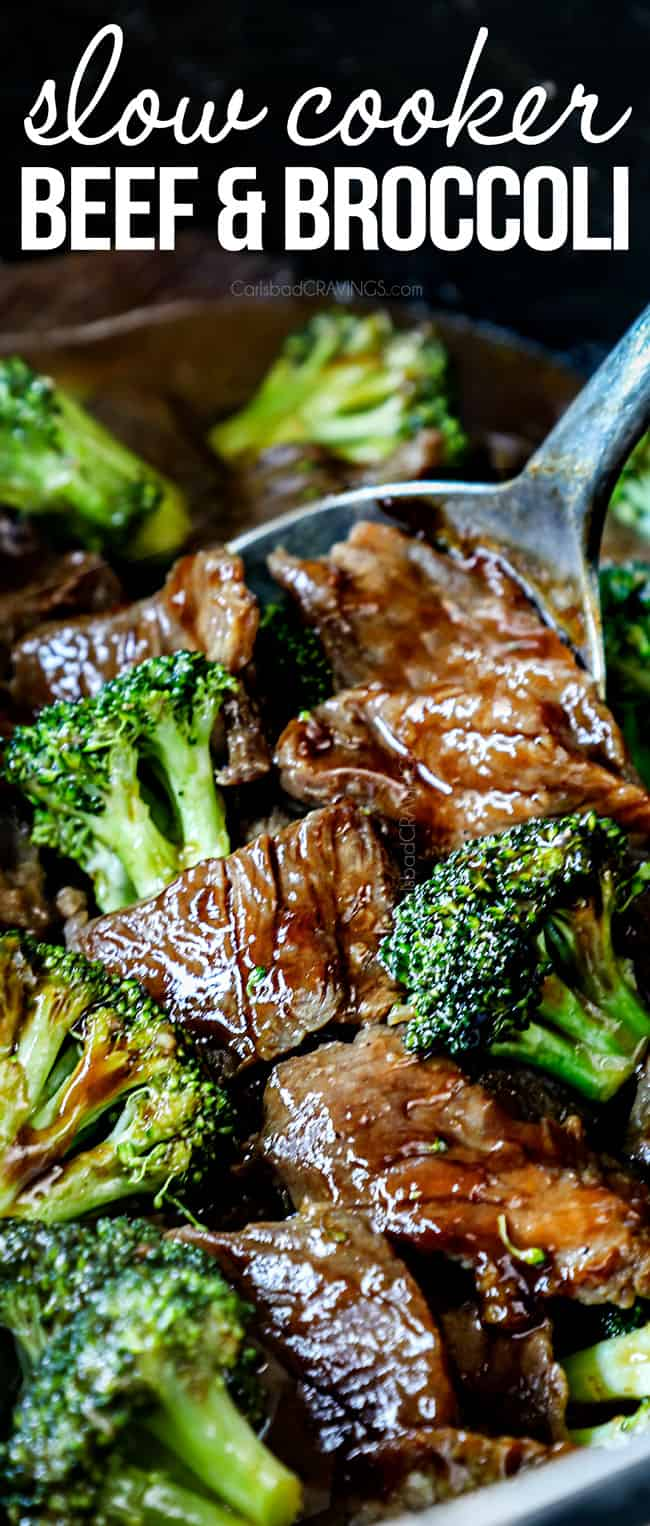 up close of crockpot beef and broccoli in the slow cooker showing how tender the steak is