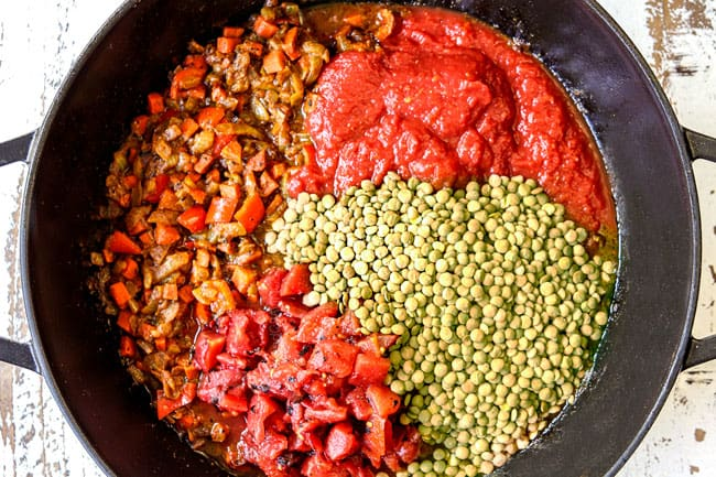 showing how to make lentil curry recipe by adding lentils, diced tomatoes, crushed tomatoes and coconut milk to  a black pot