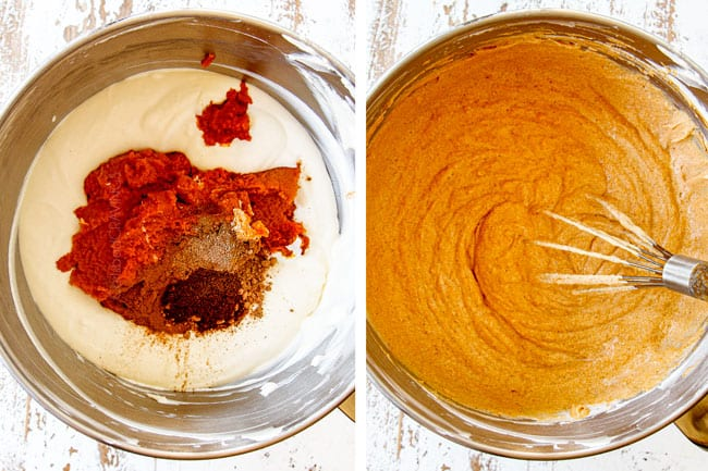 a collage showing how to make mini pumpkin cheesecakes by mixing cheesecake batter with pumpkin puree,  cinnamon, nutmeg, cloves and  ginger until smooth