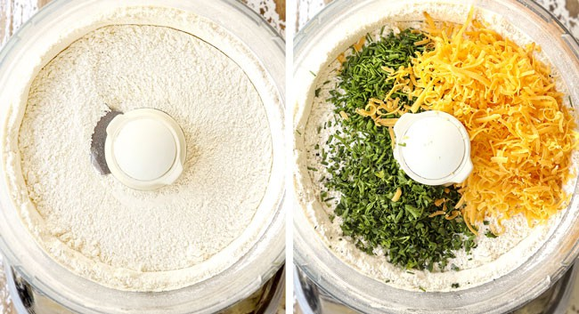 a collage showing how to make chicken pot pie with biscuits by adding flour, baking powder, sugar, cheese and chives to a food processor and pulsing to combine