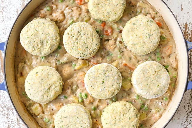a collage showing how to make chicken pot pie with biscuits by topping with biscuits