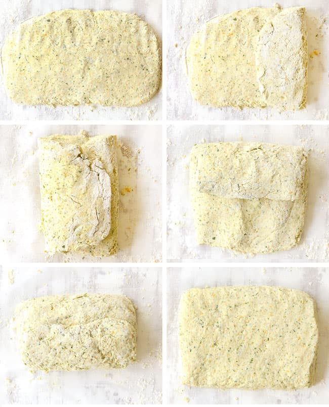 a collage showing how to make chicken pot pie with biscuits by folding dough into thirds, flattening and repeating