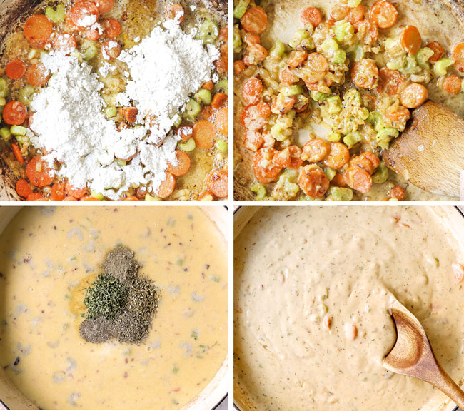 a collage showing how to make chicken pot pie with biscuits by adding flour and sautéing the veggies, stirring in chicken broth and heavy cream then simmering until thickened