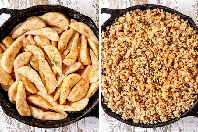 a collage showing how to make pear crisp by adding pears to a skillet and topping with crumble topping