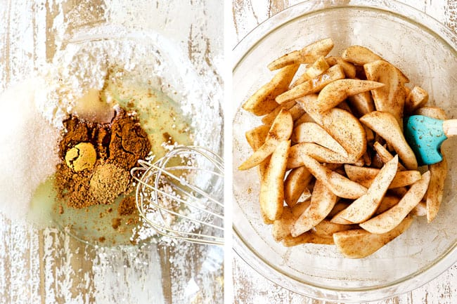 a collage showing how to make pear crisp by adding lemon juice, sugar,  cinnamon and vanilla to a bowl and mixing pears in