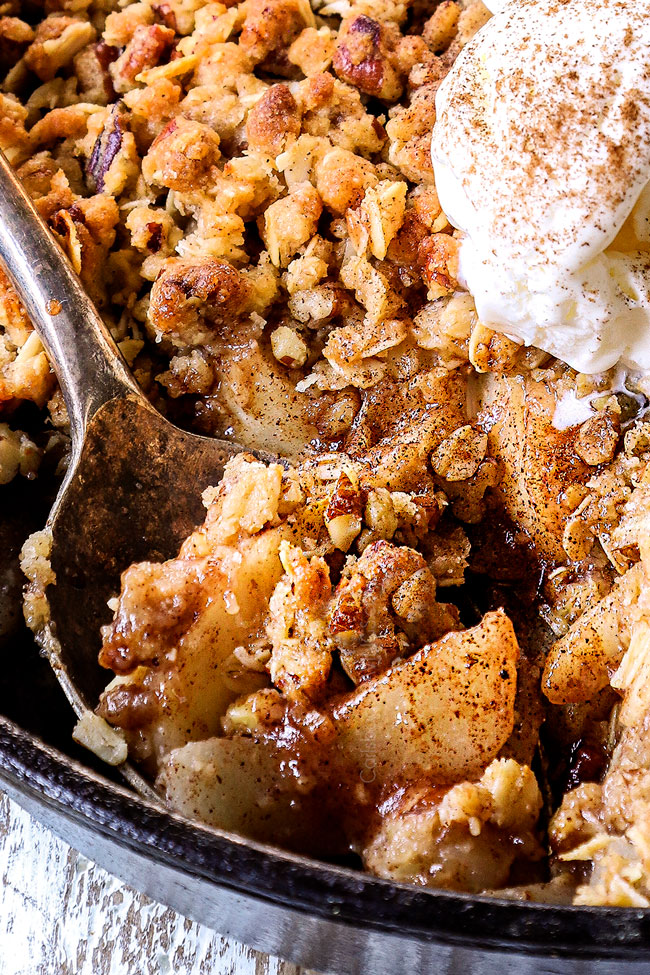 up close of a spoonful of pear crisp recipe