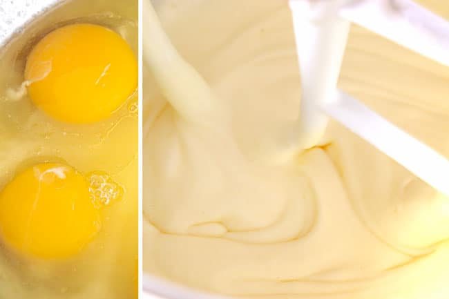 a collage showing how to make pumpkin spice cake by adding eggs, melted butter and sugar to a mixing bowl then beating until thick