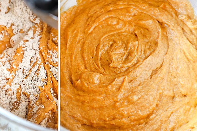 a collage showing how to make pumpkin spice cake recipe by adding flour to wet ingredients and mixing until combined
