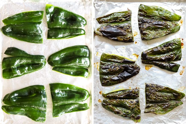 showing how to make steak tacos by roasting poblanos