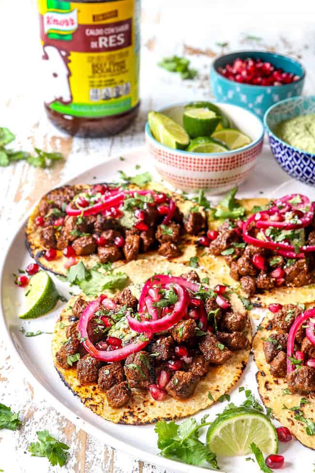 steak tacos laid flat showing the juicy steak