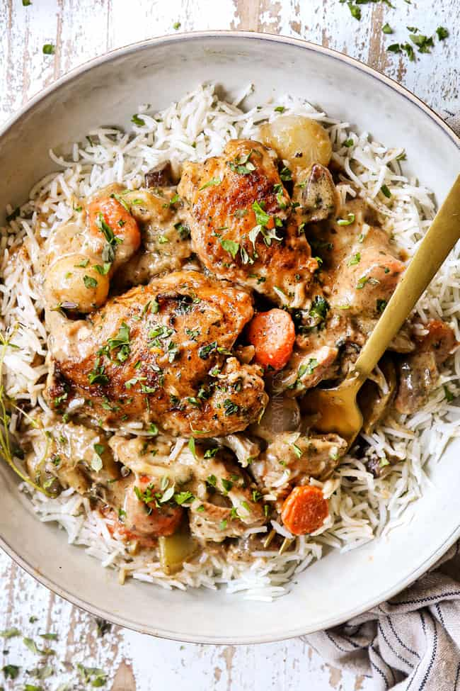 top view of chicken fricassee recipe served over rice