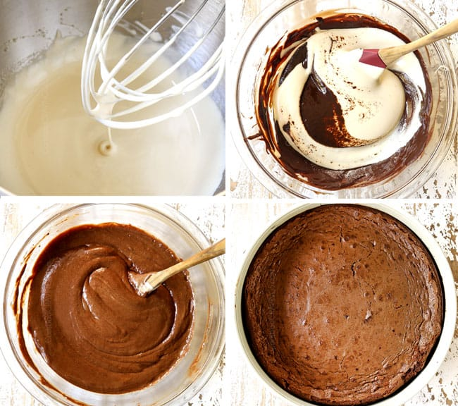 a collage showing how to make chocolate mousse cake by 1) whipping egg whites in a stand mixer, 2) adding egg whites into melted chocolate, 3) mixing egg whites into melted chocolate, 3) mixing egg whites into melted chocolate, 3) mixing egg whites into melted chocolate until smooth 4) baking cake in a springform pan