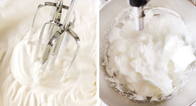 a collage showing how to make chocolate mousse cake by 1) whipping heavy cream until stiff peaks form, 2) whipping egg whites until stiff peaks form