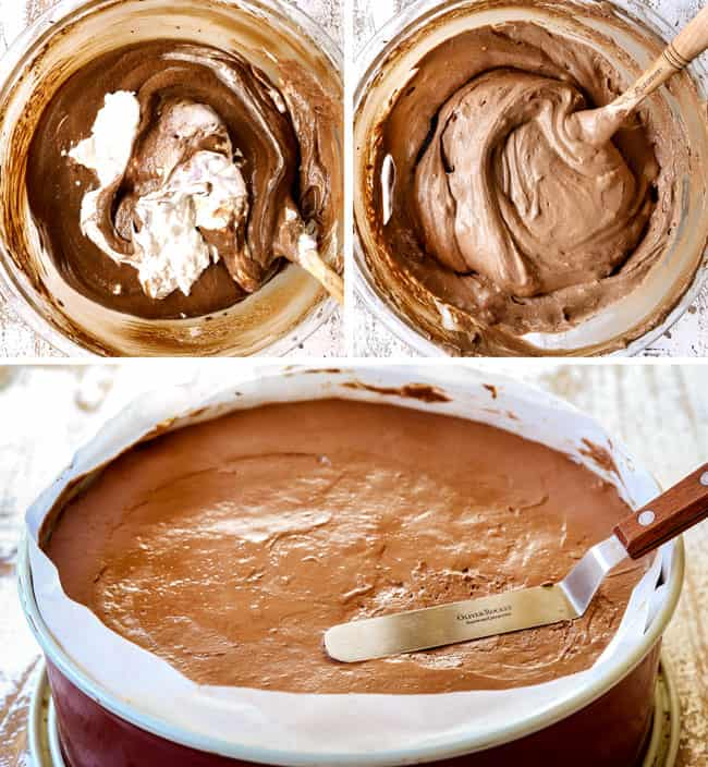 a collage showing how to make chocolate mousse cake recipe by 1) adding heavy cream to melted chocolate, 2) adding whipped cream to melted chocolate and folding in until smooth, 3) smoothing chocolate mousse in springform pan