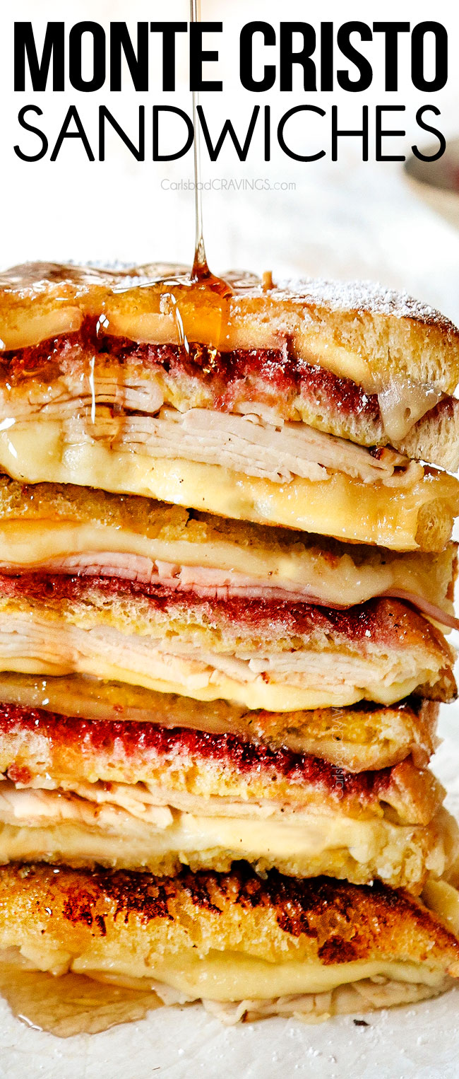 up close view of showing how to serve Monte Cristo by drizzling with syrup