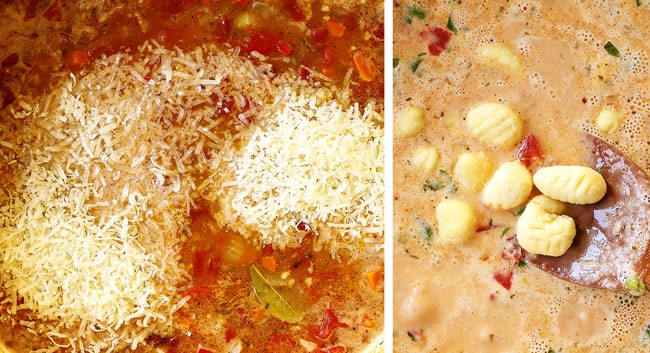 showing how to make gnocchi soup recipe by adding Parmesan cheese and gnocchi to the soup