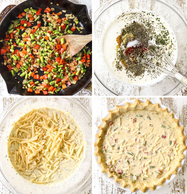 a collage showing how to make ham and cheese quiche recipe by 1) sautéing onions, asparagus and bell peppers in a skillet, 2) whisking eggs and seasonings together in a glass bowl, 3) adding cheese and ham to the egg mixture, 4) pouring filling int pie crust