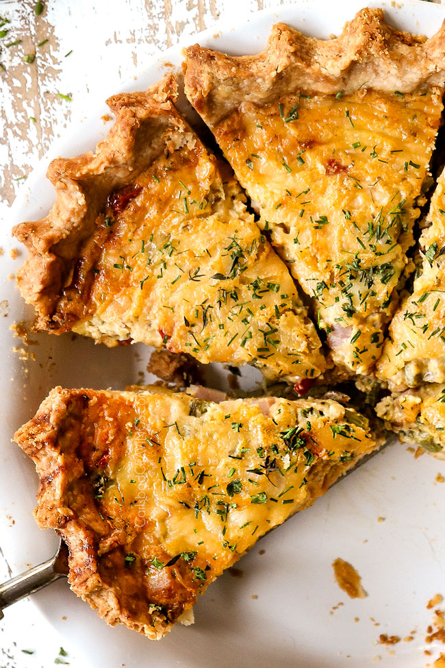 top view of ham and cheese quiche recipe cut into slices