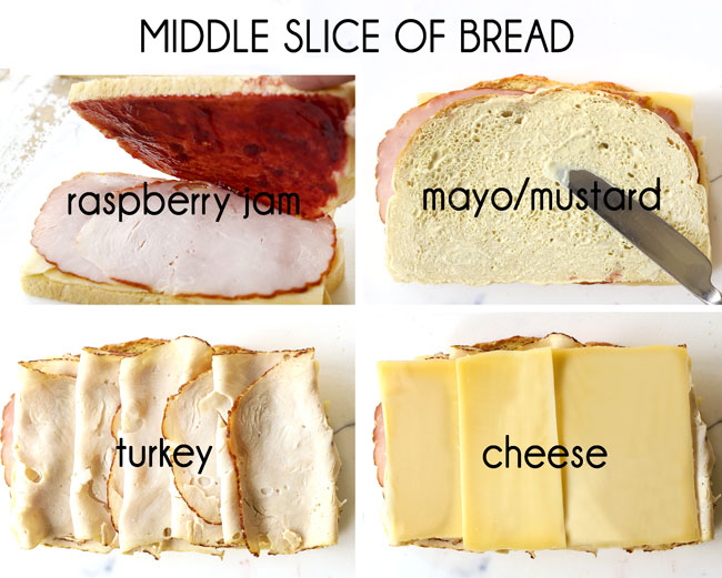 a collage showing how to make Monte Cristo recipe by 1) adding jam to bottom side of bread, 2) adding mayonnaise and mustard to top side of bread, 3) adding turkey slices, 4) adding cheese