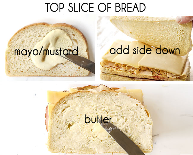 a collage showing how to make Monte Cristo sandwich recipe by 1) adding mayonnaise and mustard to a slice of bread, 2) adding bread mayonnaise side down and 3) adding softened butter on top