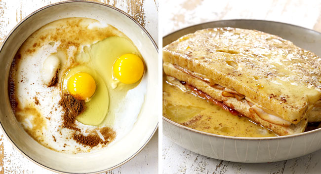 a collage showing how to make Monte Cristo  recipe by 1) adding batter ingredients to a bowl, 2) dipping sandwich in batter
