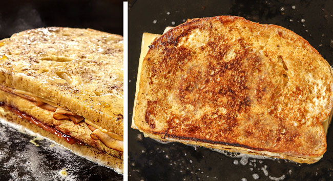 showing how to make Monte Cristo recipe by pan frying the monte Cristo in butter until golden in a cast iron skillet