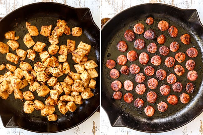 a collage showing how to make Cajun Chicken Alfredo by cooking bite size pieces of chicken in a skillet and andouille sausage
